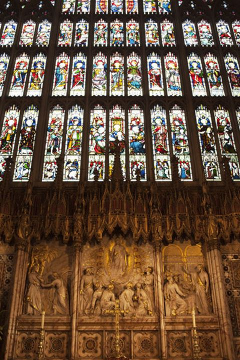 England, Berkshire, Windsor, Windsor Castle, St.George's Chapel, The Quire and Stained Glass Window