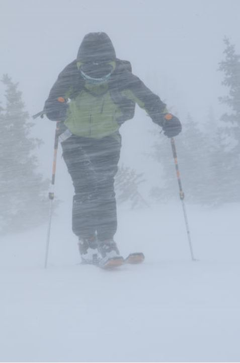Kim Petritz puts her head down and charges up Mt. Emmons.  Crested Butte, Colorado.