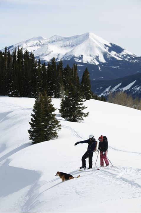 Donal O'leary and Jade Reams scouting a line on coney's in crested butte.