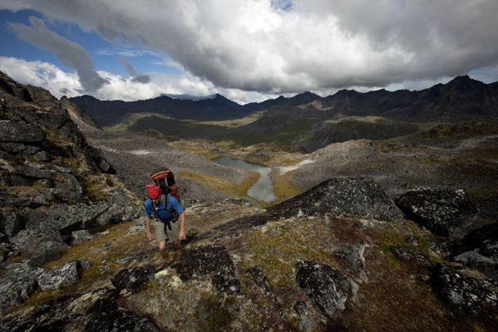 Ed Czach packrafting Independent Sheep from Hatcher's Pass to Sheep Creek in the Talkeetna Mountains near Talkeetna and Anchorage, Alaska.