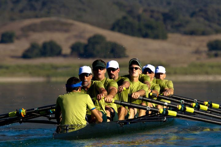 The Lake Casitas Men???s Rowing Team works on some drills at Lake Casitas in Ojai, California on August 28, 2011.