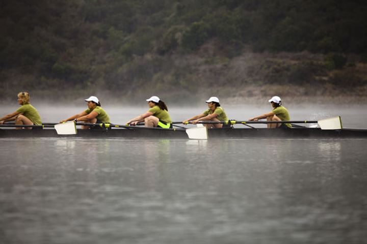 The Lake Casitas Rowing Team works some drills on August 21, 2011 in Ojai, California.  Lake Casitas was the site of the 1984 Olympic Rowing Completion.