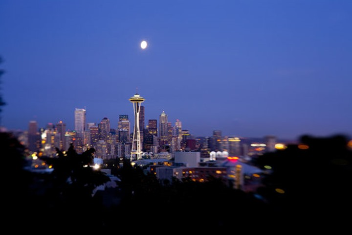 Downtown Seattle at dusk, selective focus