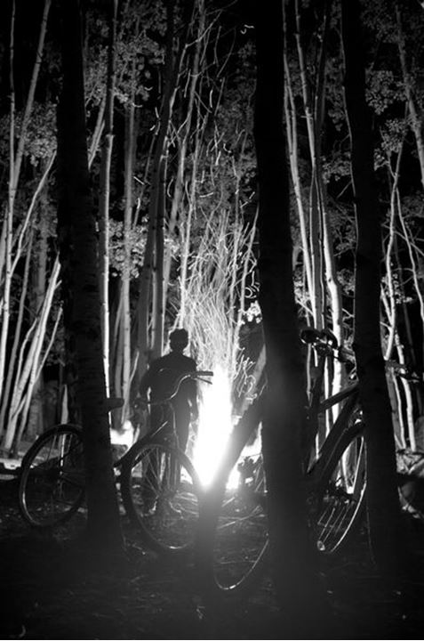 Bikes and Campfire in aspen forest.  Crested Butte, Colorado.