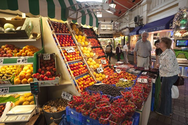 England, Oxfordshire, Oxford, Fruit and Vegetable Store in the Indoor Market