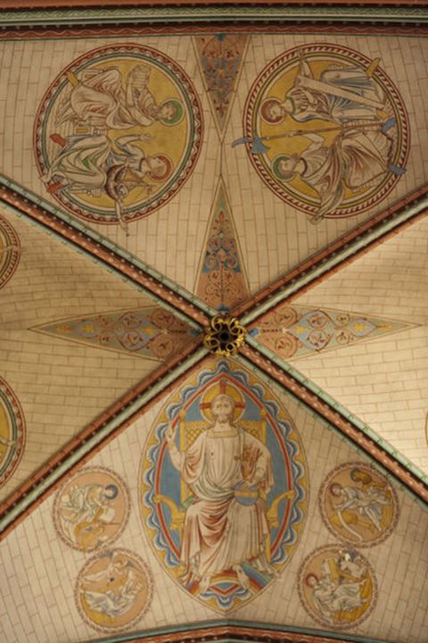 England, Wiltshire, Salisbury Cathedral, Detail of the Quire Roof