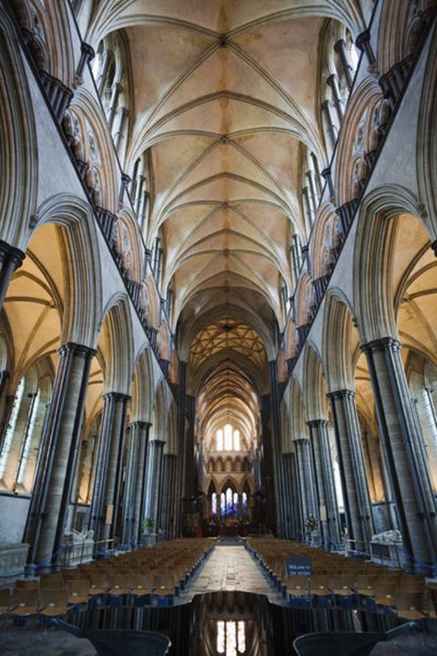 England, Wiltshire, Salisbury Cathedral, The Nave Roof