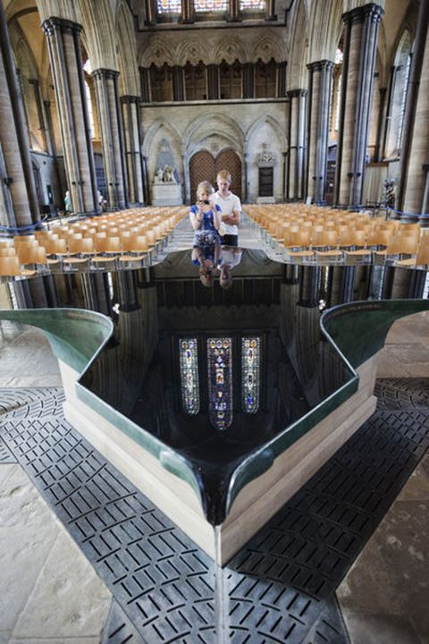 England, Wiltshire, Salisbury Cathedral, The Font designed by William Pye in 2009