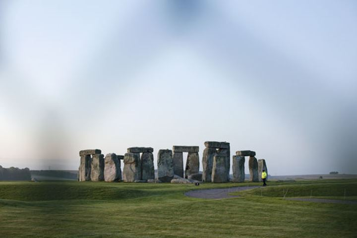 England, Wiltshire, View of Stonehenge from behind Security Fence
