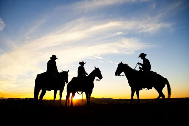 A silhouetted group of cowboys sit on a ridge line as the sun sets behind them