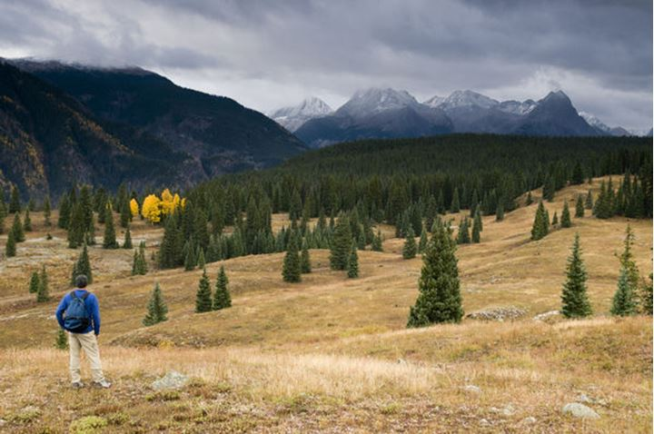 Man looking at the view of the Grenadier Range while hiking in the alpine tundra on Molas Pass, San Juan National Forest, Silverton, Colorado.