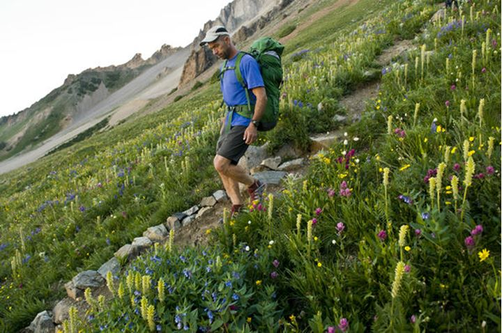 A man hiking through wildflowers below Capitol Peak in the Maroon Bells Wilderness, White River National Forest, Aspen, Colorado.
