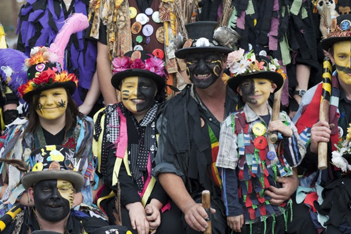 England, Kent, Rochester, Morris Dancers at the Annual Sweeps Festival