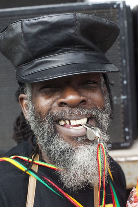 England, London, Notting Hill Carnival, Whistle and Whoofer Horn Vendor
