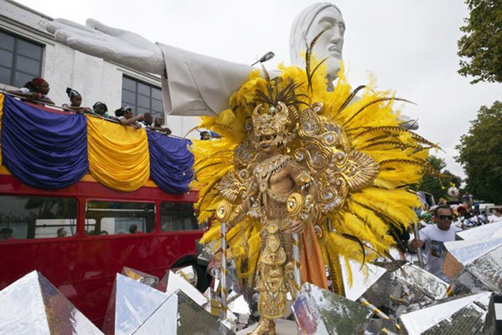 England, London, Notting Hill Carnival, Festival Participant on Float