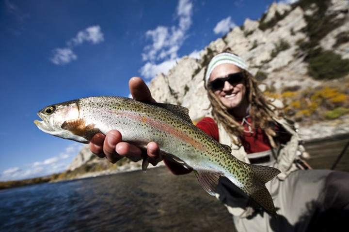 A male fly fisher holds a freshly caught rainbow trout out of the Yellowstone River in Bozeman, Montana.