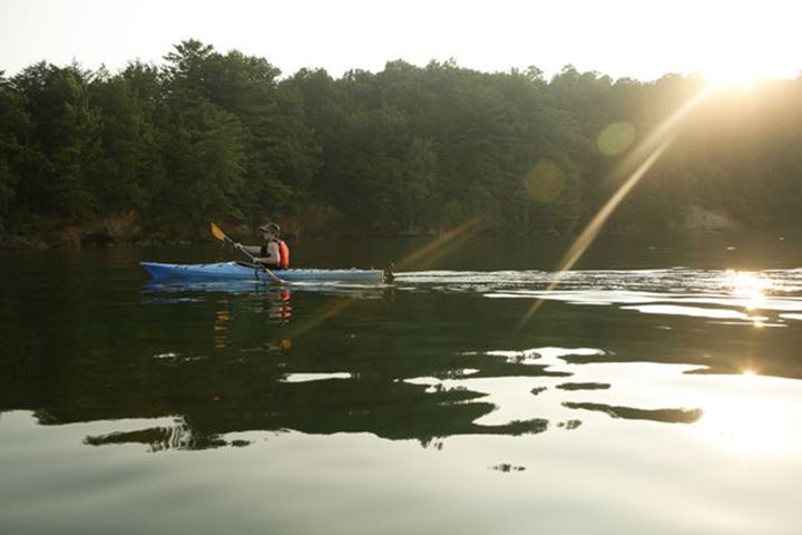 Katie Cavert explores Lake Jocassee by sea kayak at Devil's Fork State Park near  Salem, SC