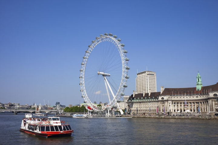 England, London, London Eye and River Thames