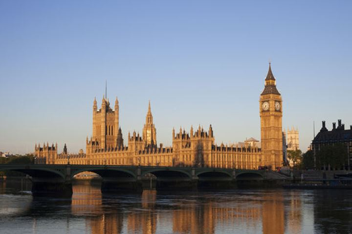 England, London, Palace of Westminster and River Thames