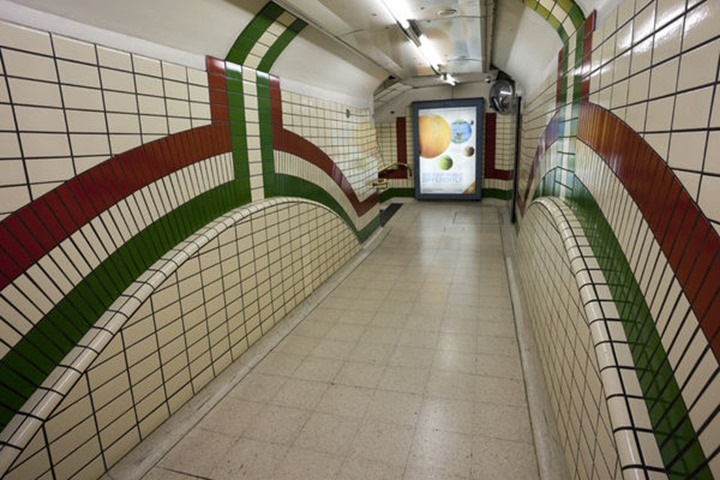 England, London, Underground Station Passageway
