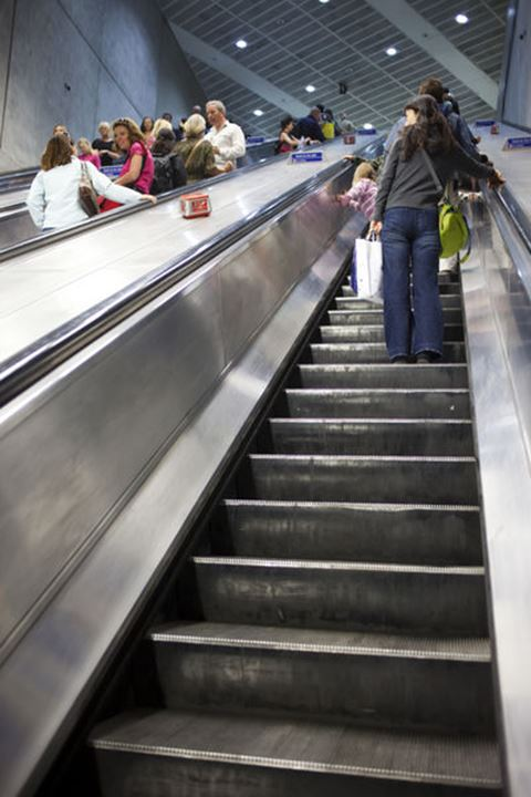 England, London, Underground Station Escalators