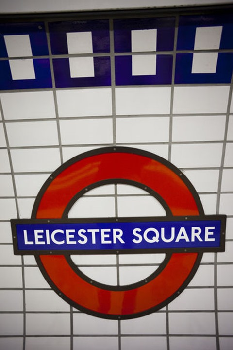 England, London, Leicester Square, Underground Station Sign. Please note that the Underground roundel is TfL's trade mark and permission to reproduce the image for commercial purposes will require TfL