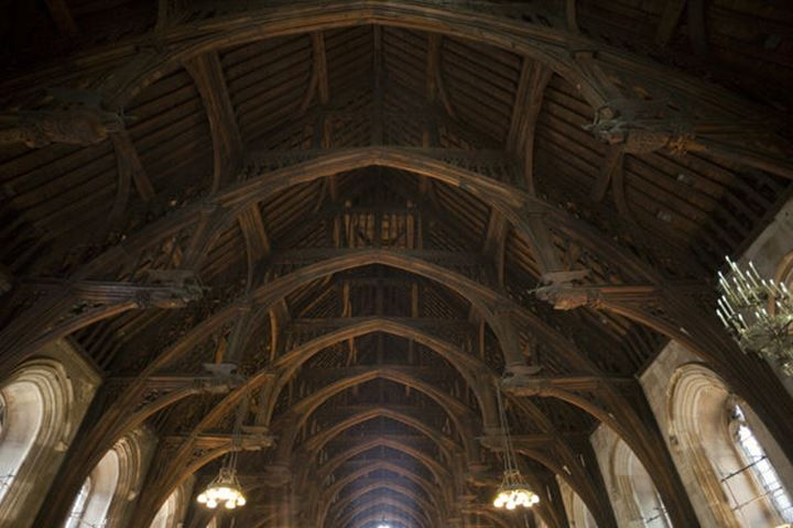 England, London, Palace of Westminster, Hammer-Beam Roof of Westminster Hall