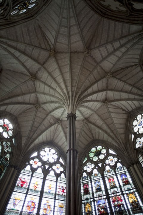 England, London, Westminster Abbey, Fan Vaulted Ceiling of the Chapter House