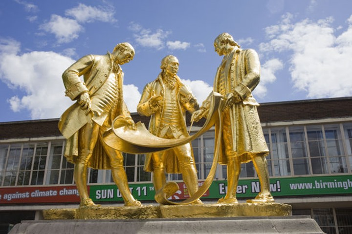 England, Birmingham, The Golden Boys of Birmingham Statue featuring Matthew Boulton, James Watt, and William Murdoch