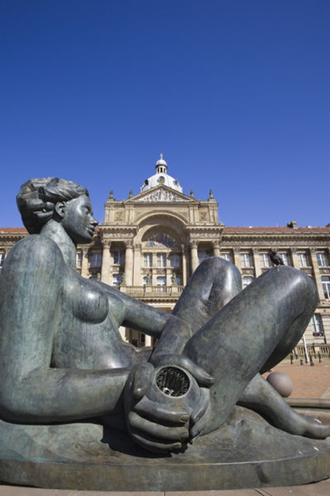England, Birmingham, Victoria Square, The River Fountain Statue also known as The Floozie in the Jacuzzi, Sculptured by Dhurva Mistry