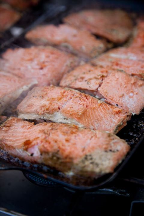 Wild salmon cooking on camp stove while on a whitewater rafting trip on the Chilko River. British Columbia, Canada.