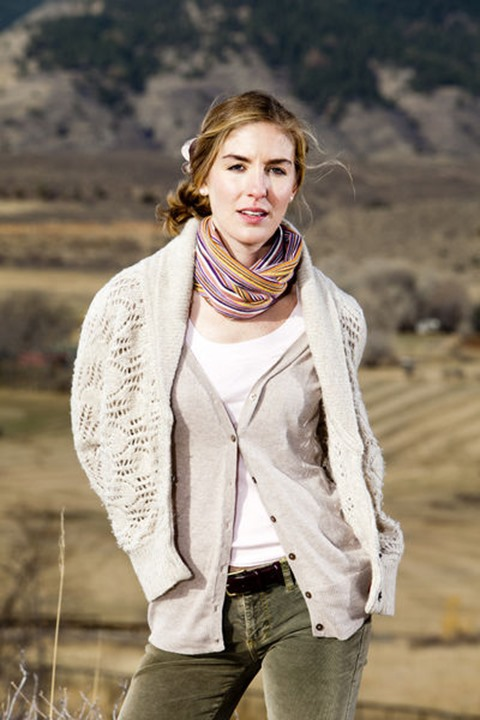 Melissa Lombardi models in layered clothing on Bingham Hill, Fort Collins, Colorado.