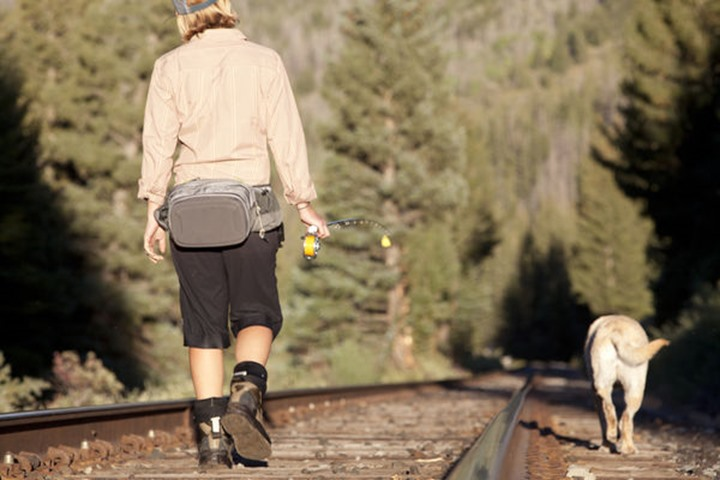A woman and her dog walk along some train tracks to their next fishing spot.