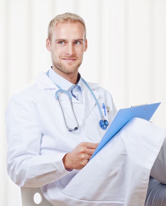 Portrait of a Young Doctor with Stethoscope and Files