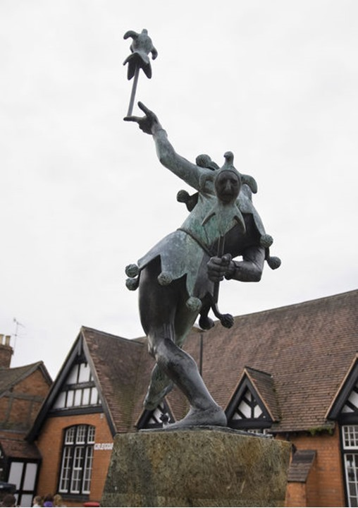 Statue of a jester in Stratford upon Avon in England, no property release