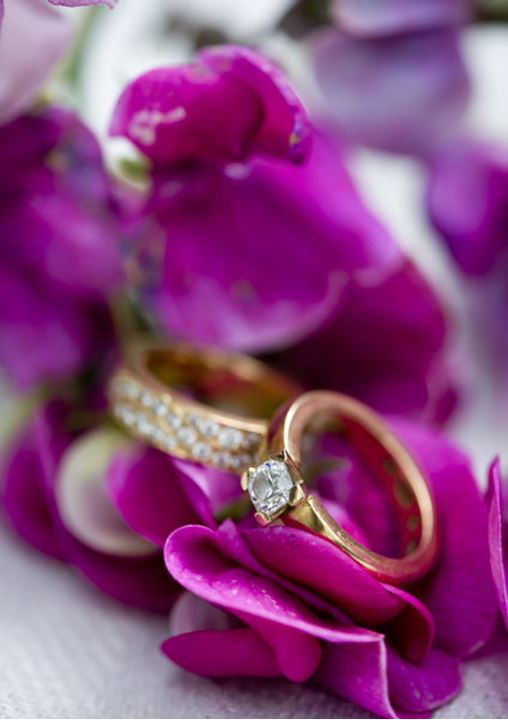 Two diamond rings in some violet flowers