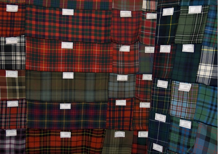 Different types of fabric with Scottish Pattern, no property release