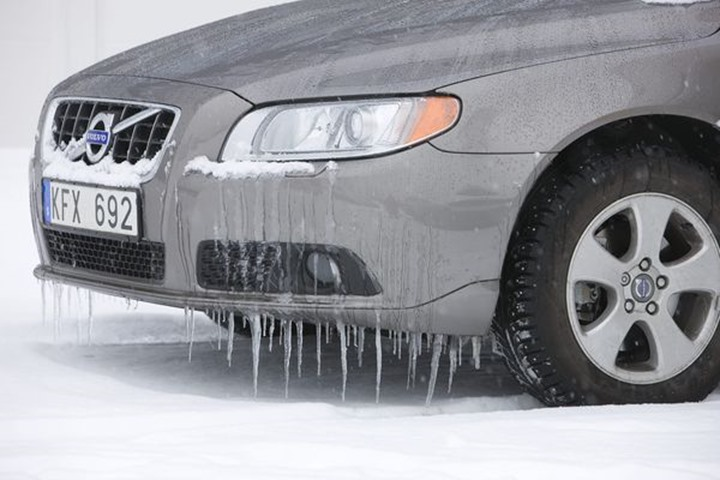Ice in front of a car