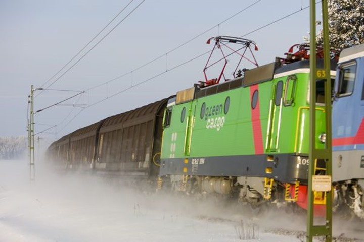 Cargo train in winter, Hedemora, Dalarna.