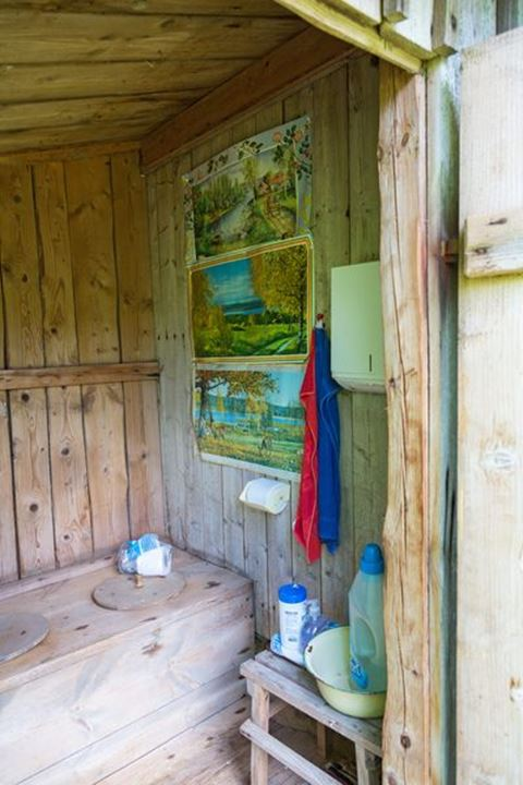 Interior of an old outhouse