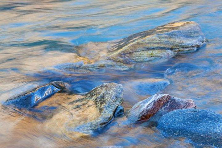 Rocks in flowing glacier water