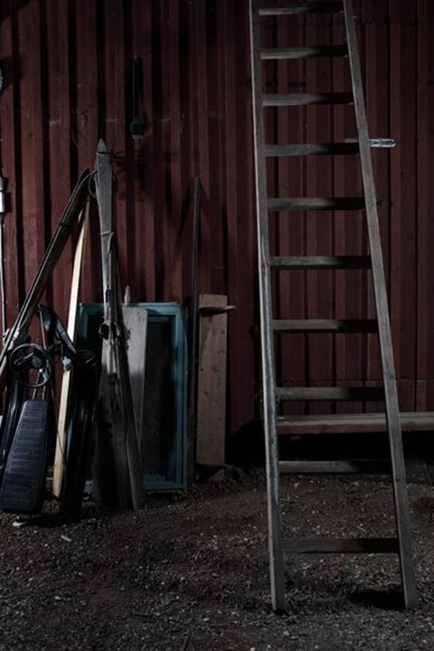 Ladder and crap, farmhouse, Sweden.