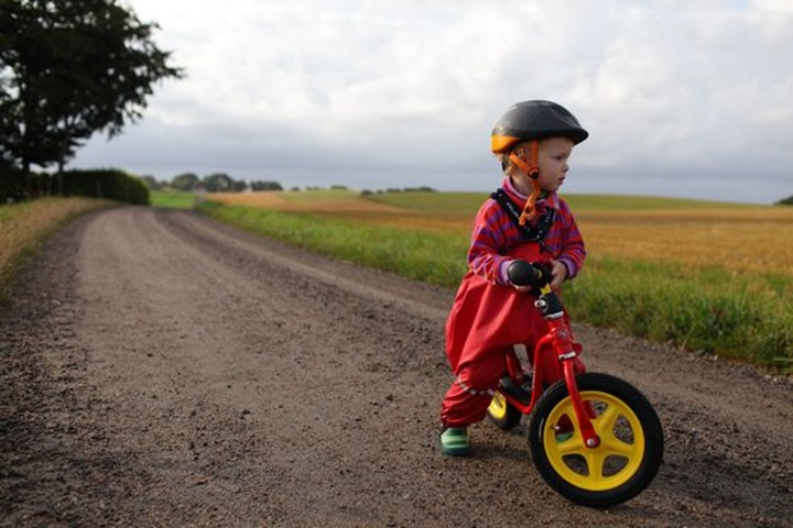 Baby boy on a bike, Sweden.