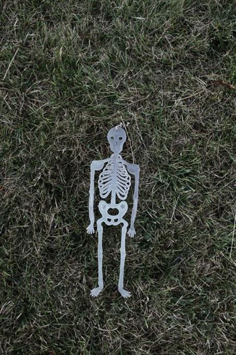 Plastic toy skeleton on a lawn, Sweden.