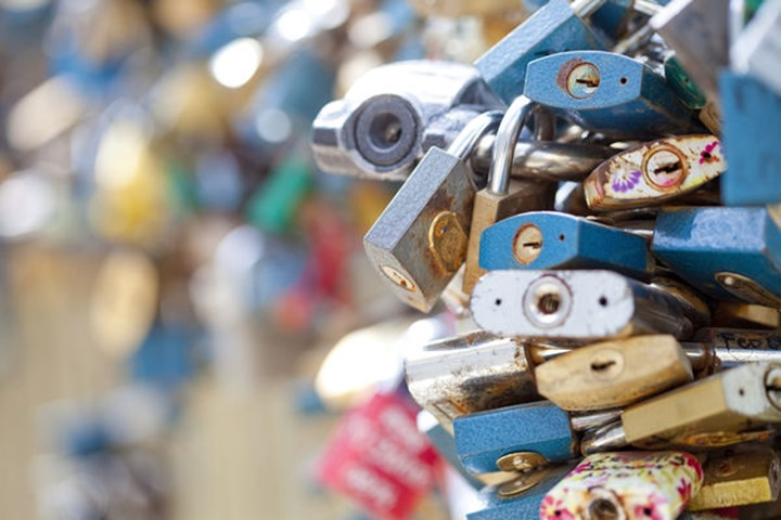 Czech Republic, Prague - Abundance of Love Padlocks on Railings.