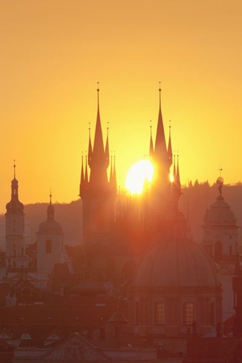 Czech Republic, Prague - Spires of the Old Town at Sunrise