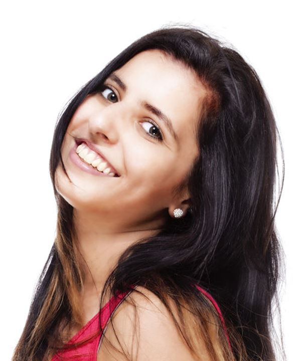 Young Woman with Long Black Hair Smiling - Isolated on White