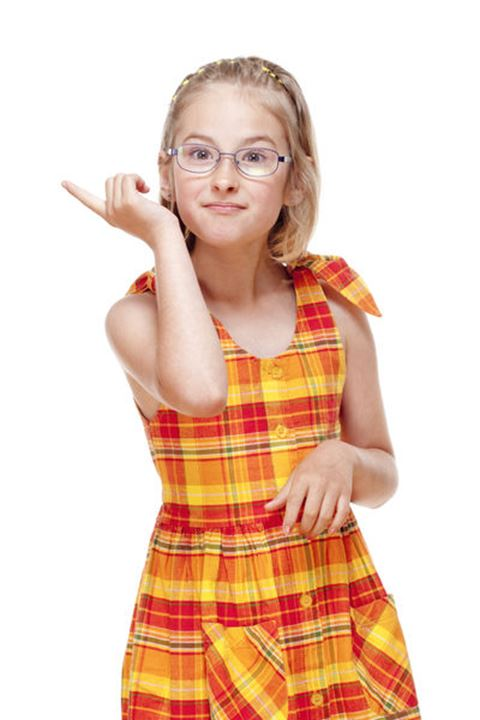 Little Girl with  Glasses Threatening with Finger - Isolated on White