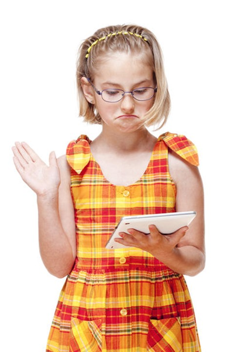 Portrait of a Little Girl with Glasses Holding Tablet - Isolated on White