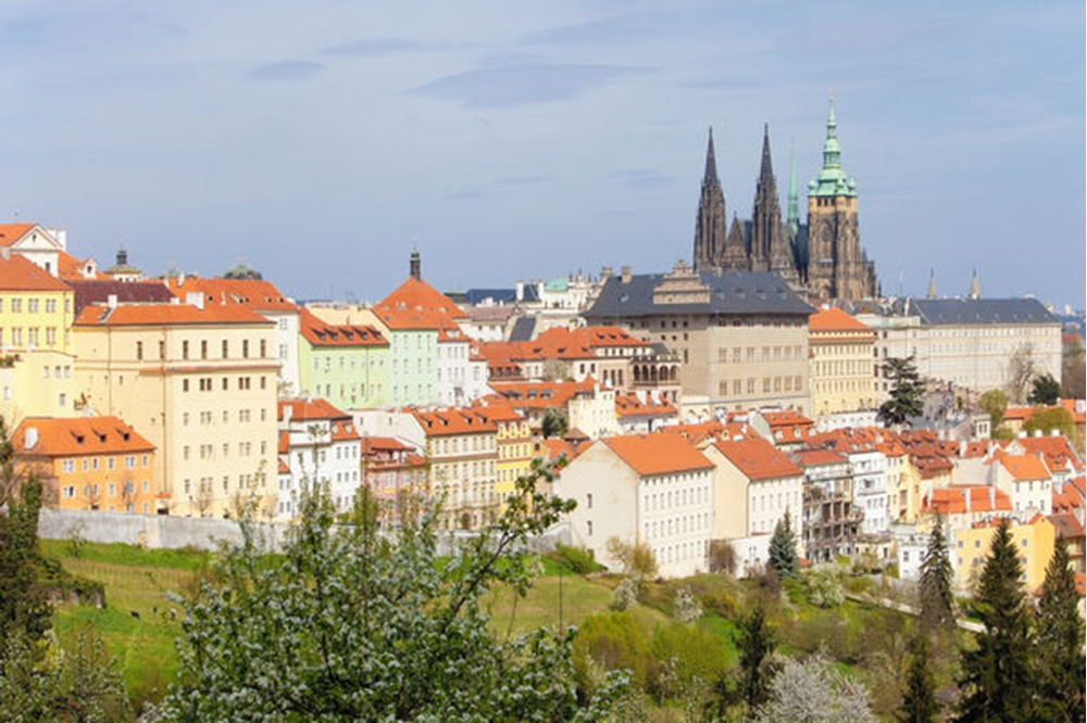 prague - view of hradcany castle and st. vitus cathedral in spring